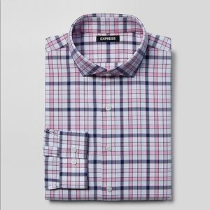 Men's express plaid dress shirt NWT peony